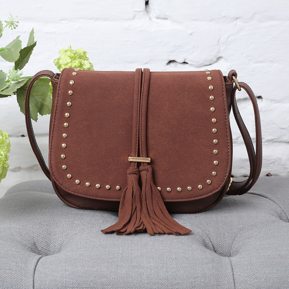 Rivets Tassels Crossbody Bags COFFEE 1PC