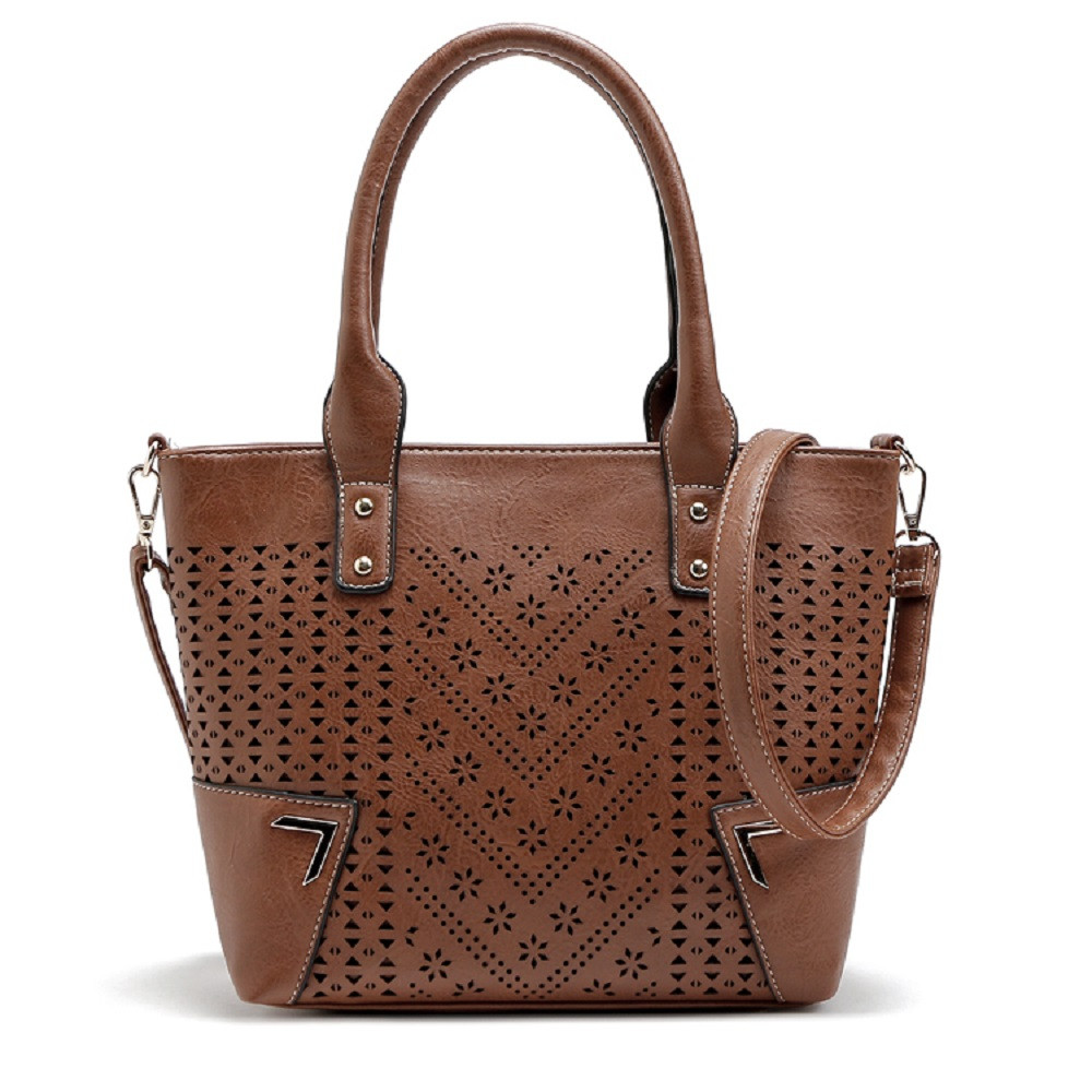 Solid Color Engraving Flower Studs Tote Bag BROWN 1PC