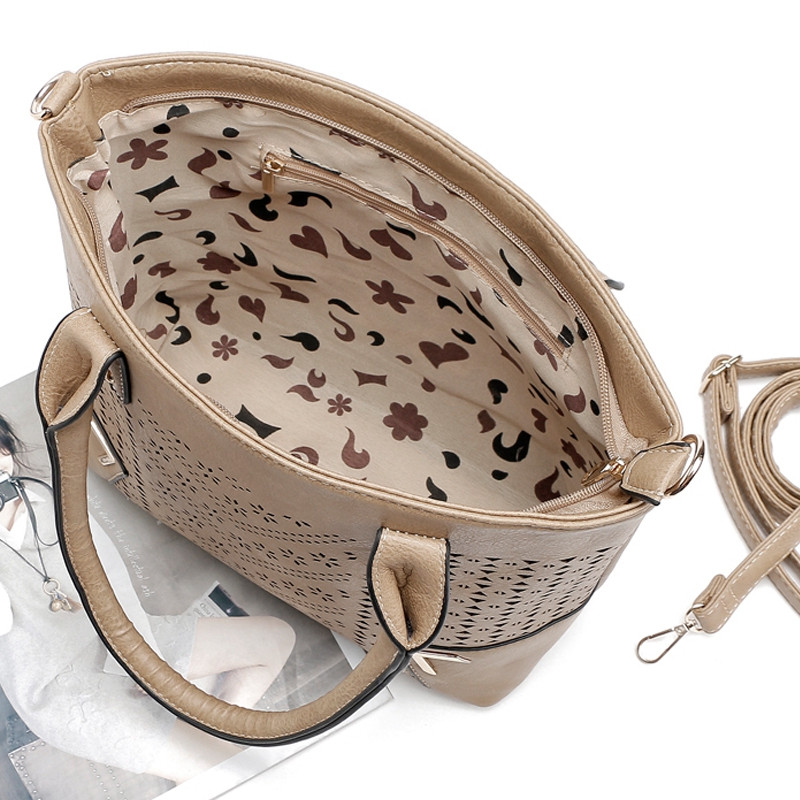 Solid Color Engraving Flower Studs Tote Bag APRICOT 1PC