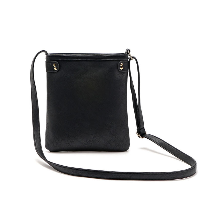 Solid Color Zipper Rivets Crossbody Bag BLACK 1PC