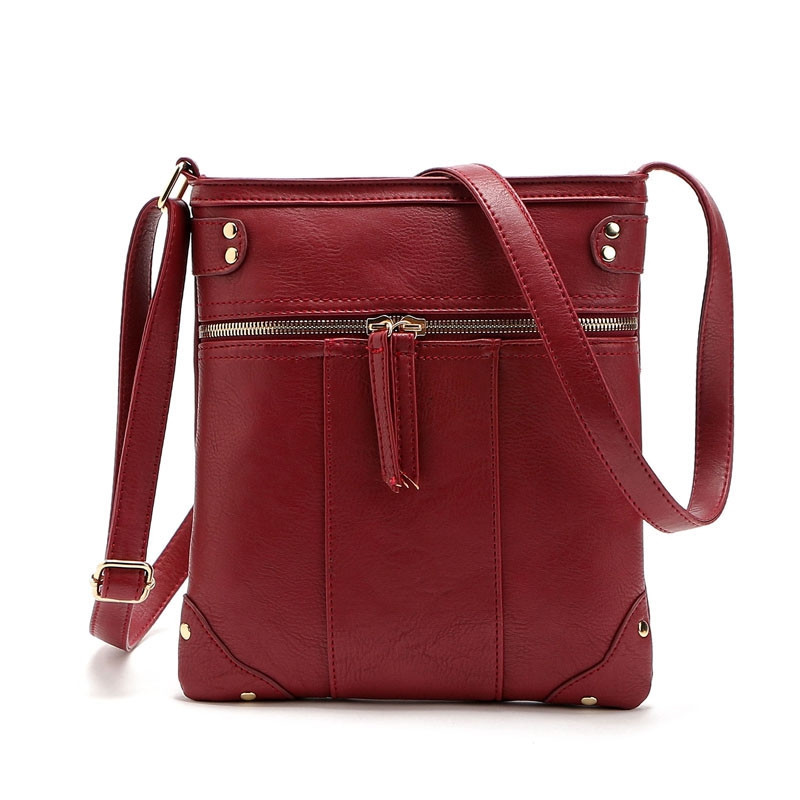 Solid Color Zipper Rivets Crossbody Bag PURPLISH RED C5 1PC