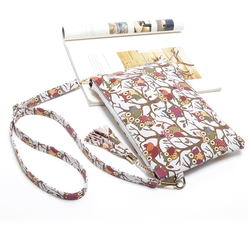 Cartoon Owl Printed Small Crossbody Bag WHITE 1PC