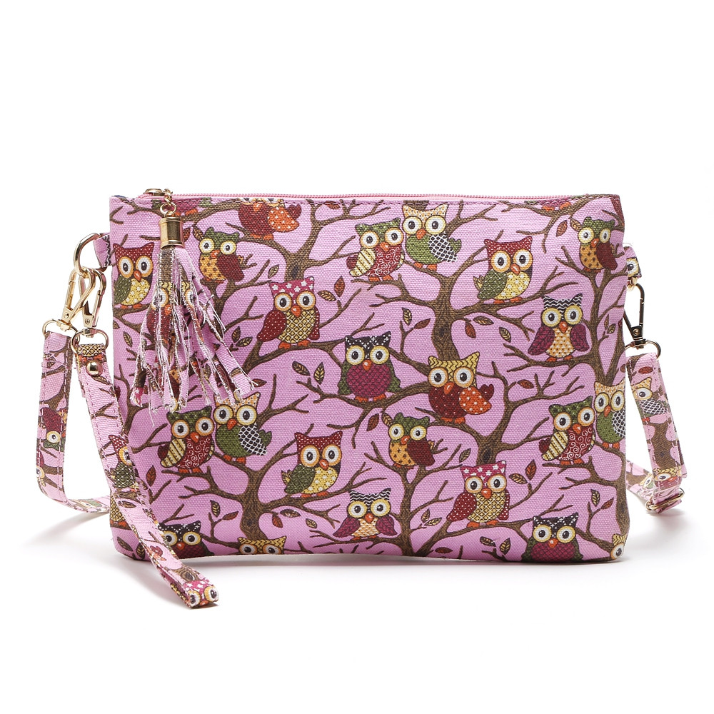 Cartoon Owl Printed Small Crossbody Bag ROSE RED 1PC
