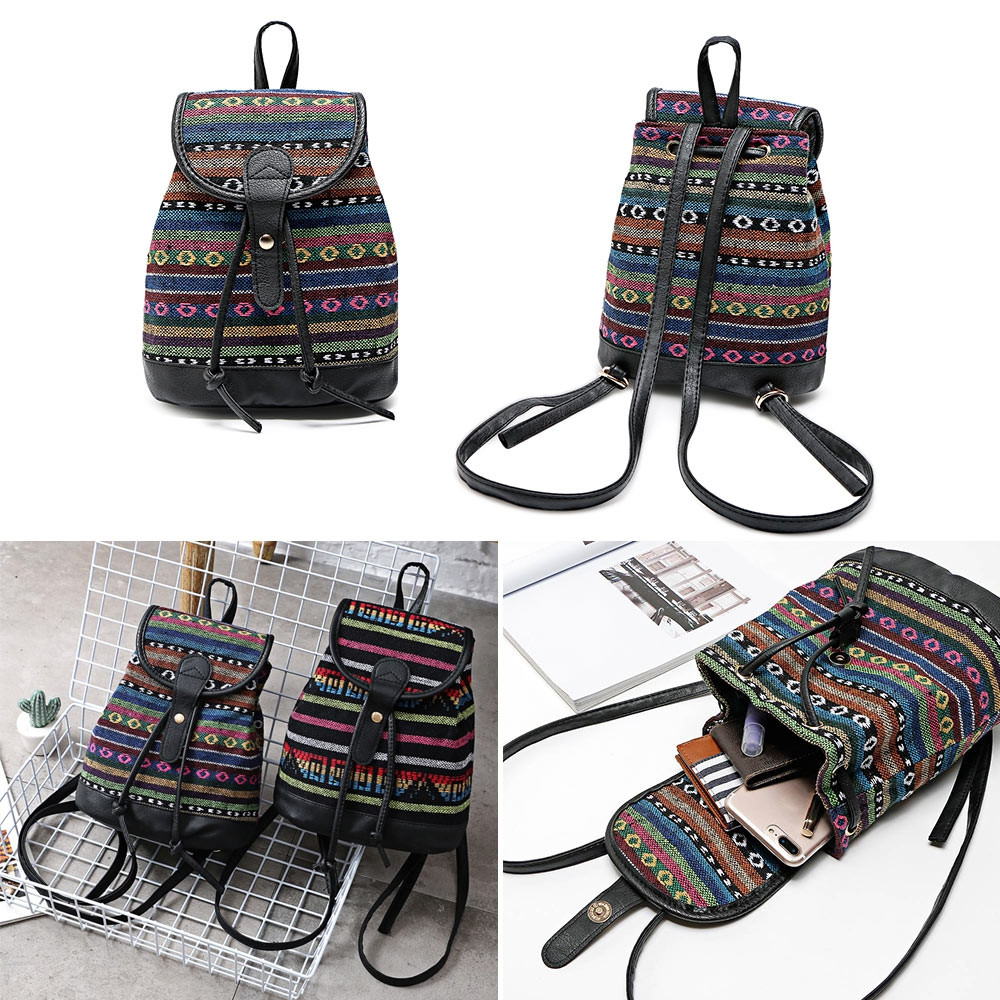 Guapabien Women Ethnic Style Printed Patchwork Backpack BLACK STRIPED