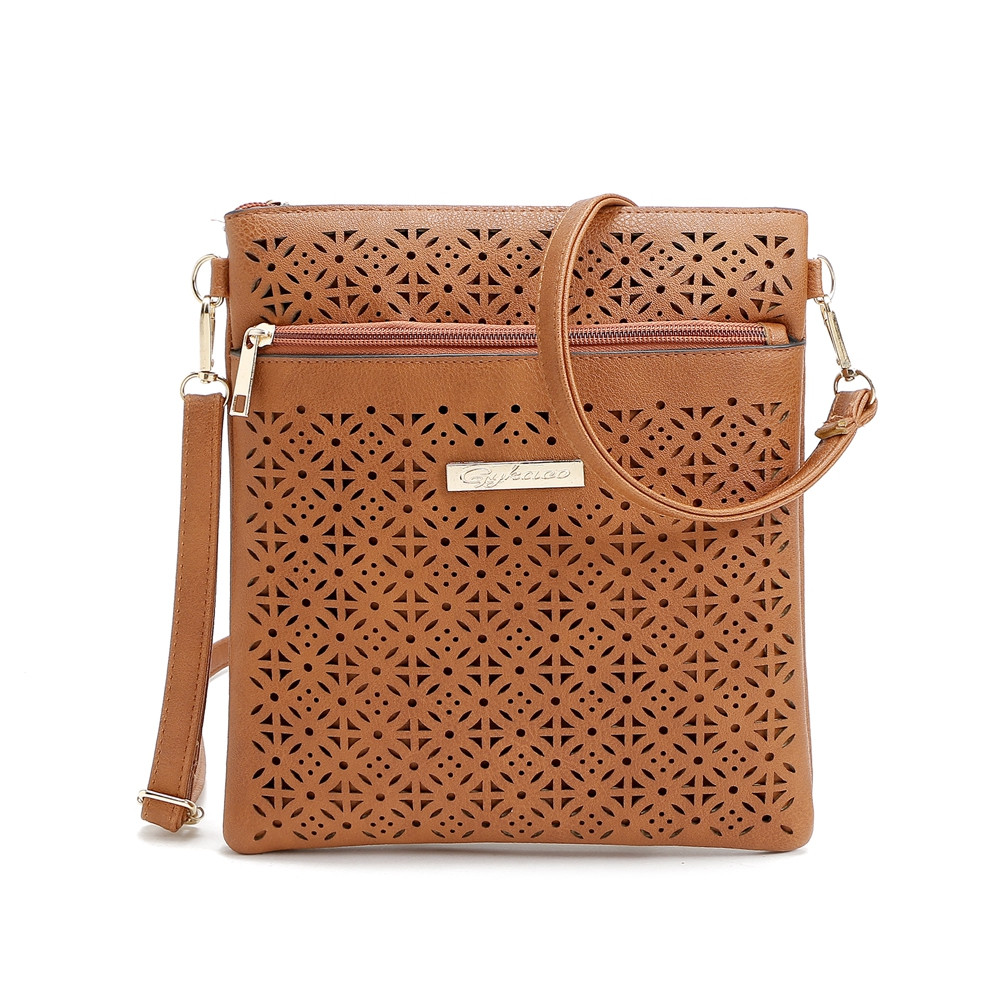 Guapabien Women Ethnic Hollow Out Shoulder Messenger Bag BROWN