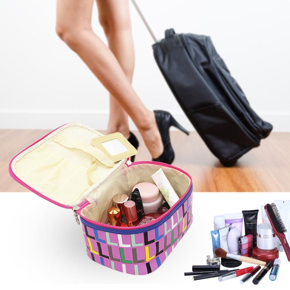 Waterproof Print Makeup Travel Storage Wash Receive Bag PURPLE