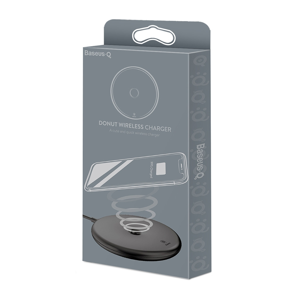 Baseus Donut Fast Wireless Charger Built-in Cable
