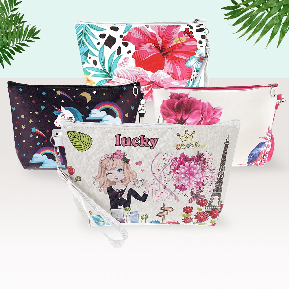 Portable Printing Cosmetic Bag Makeup Pouch 3PCS COLORFUL #1