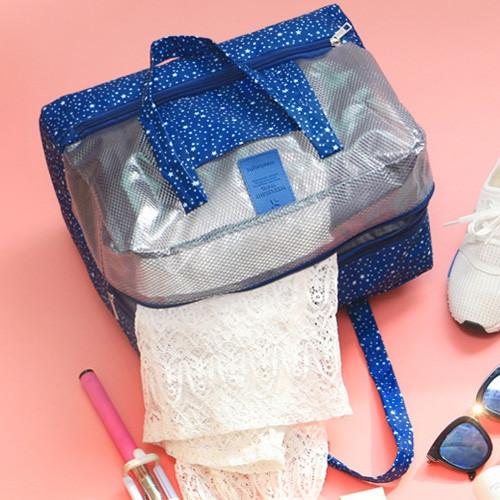 Mesh Panel Print Multifunctional Bag DEEP BLUE