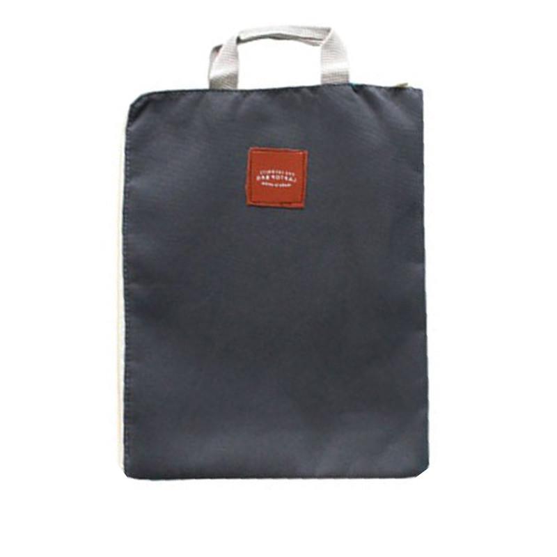 File Bag  Zipper Design Cloth Solid Color Office Utility Computer Bag DEEP GRAY