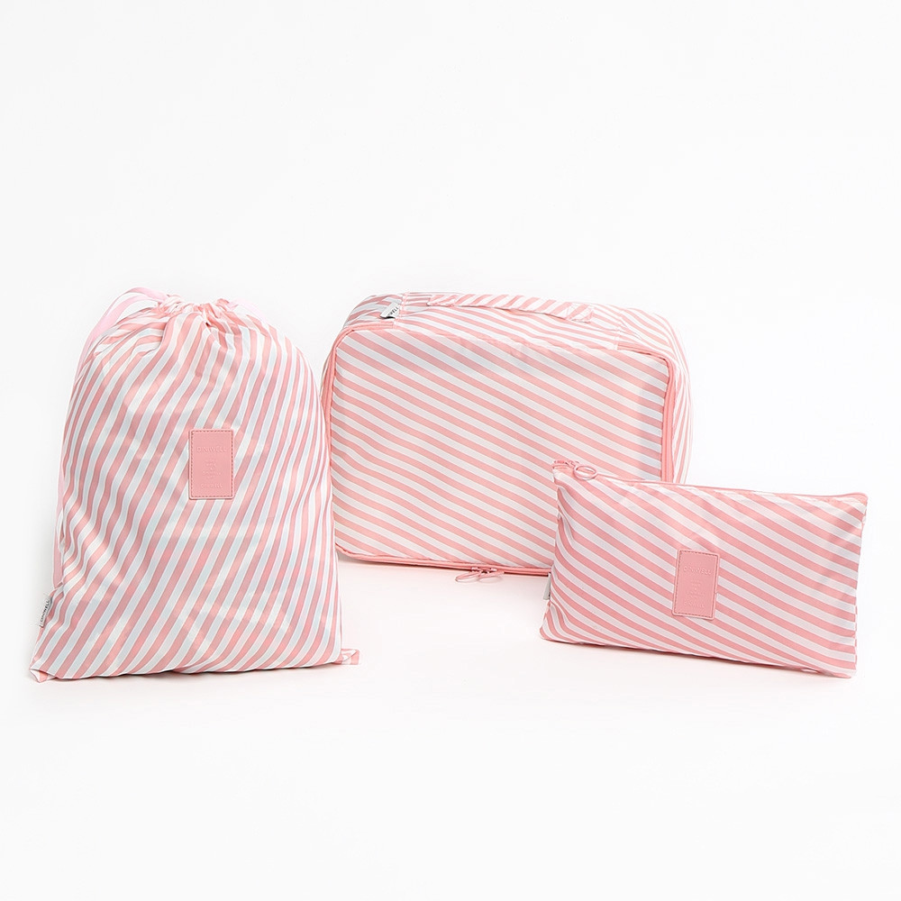 Foldable 6 Pieces Striped Storage Bag Set PINK
