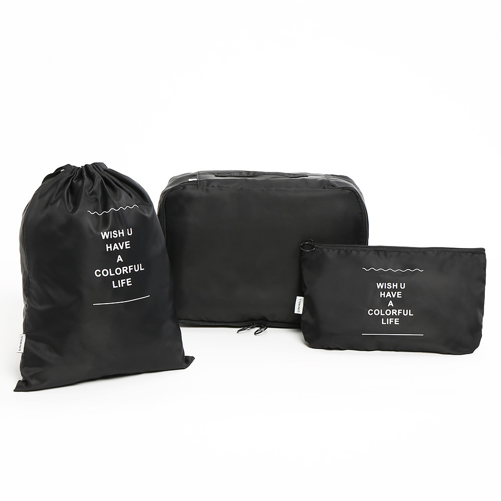 6 Pieces Travelling Storage Bag Set BLACK