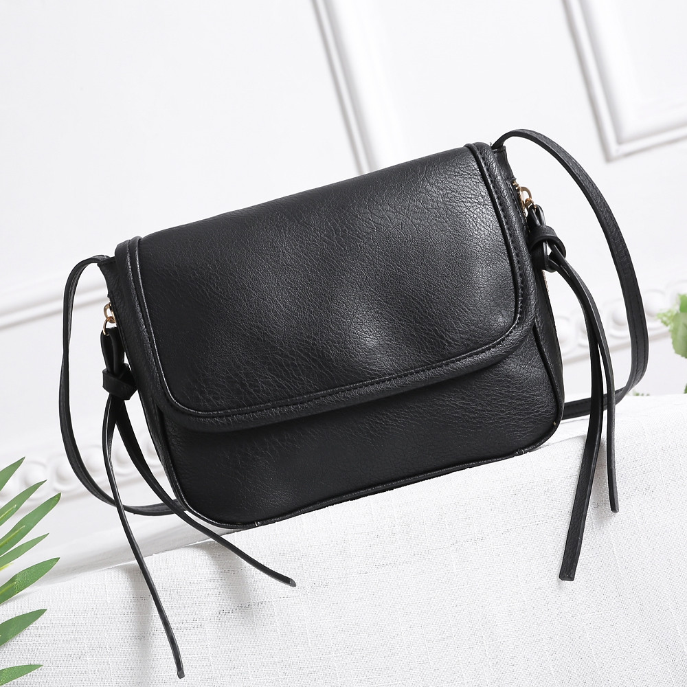 New Vintage Women Messenger Bags Crossbody PU Leather Shoulder Bag Designer Ladies Handbags Tassel Women Bags BLACK HORIZONTAL