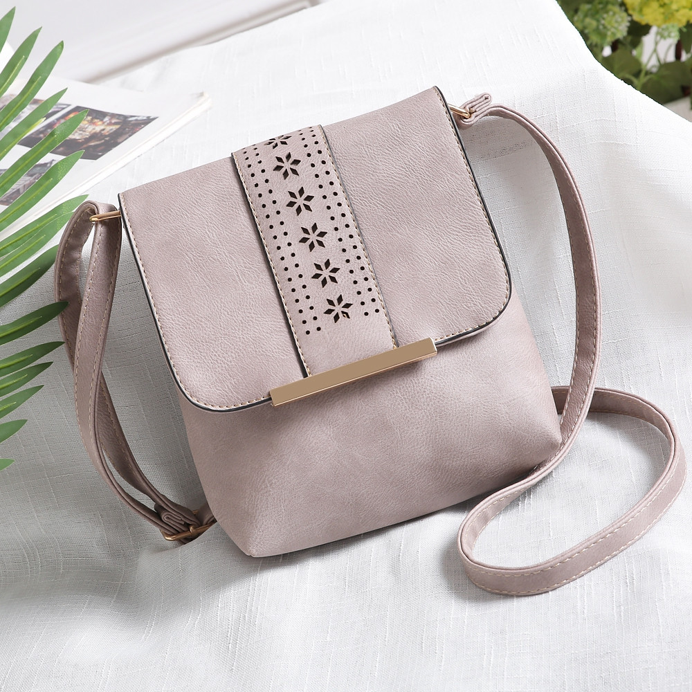 Europe Style Hollow Out Handbags Women PU Leather Crossbody Shoulder Bag MUD COLOR