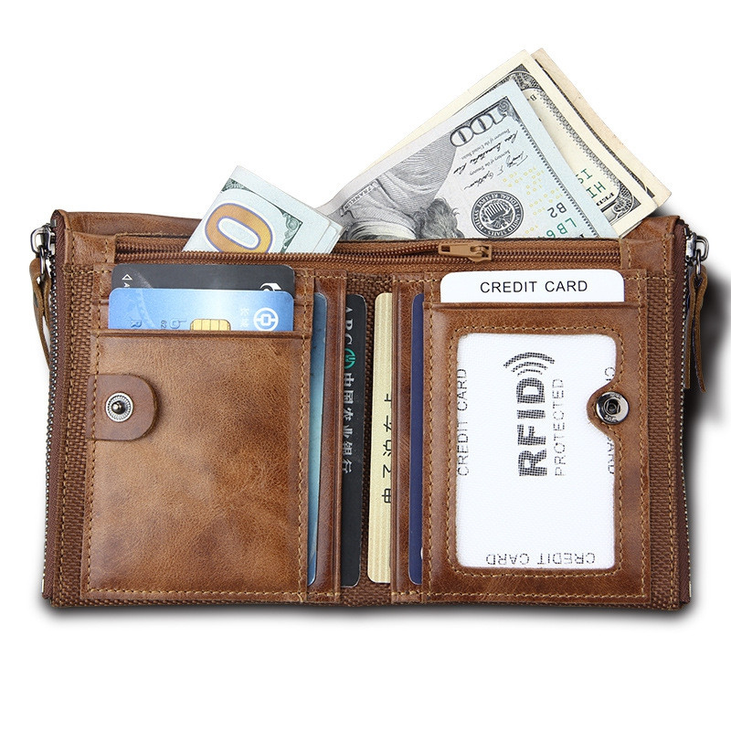 Short Retro Men Wallet Business Genuine Leather Coin Wallets Male Purse Credit Cards Holder Double Zipper BROWN