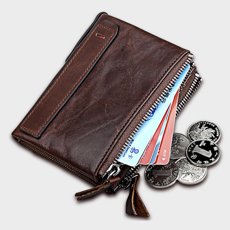 Short Retro Men Wallet Business Genuine Leather Coin Wallets Male Purse Credit Cards Holder Double Zipper COFFEE