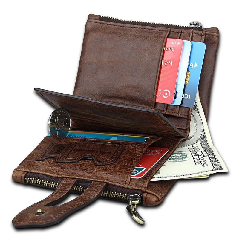Short Genuine Leather Cowhide Men Wallet Business Card Coin Money Male Purse Card Holder COFFEE