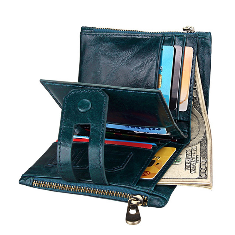 Short Genuine Leather Cowhide Men Wallet Business Card Coin Money Male Purse Card Holder BLUE