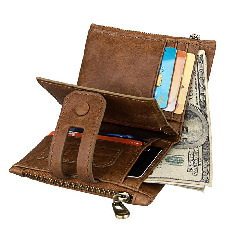 Short Genuine Leather Cowhide Men Wallet Business Card Coin Money Male Purse Card Holder BROWN
