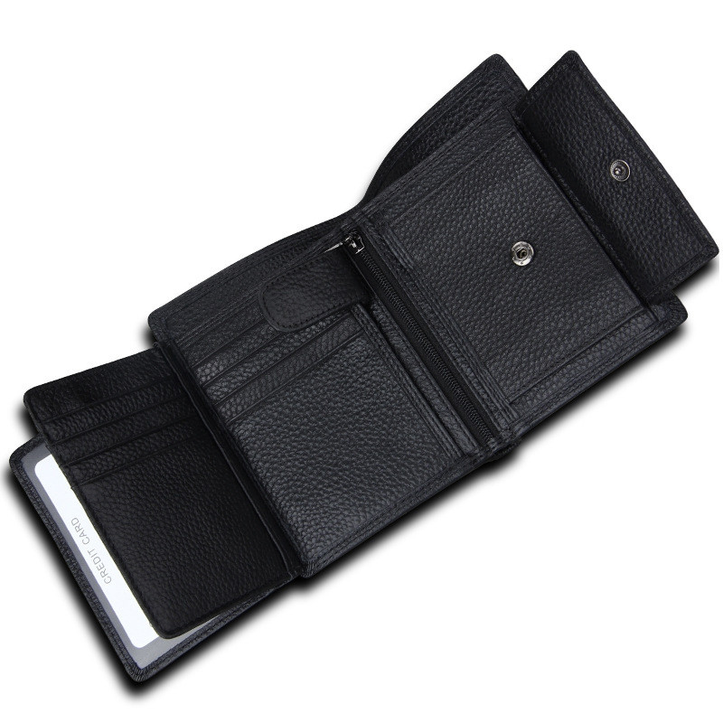 Men Leather Wallet Multifunctional Vertical Section Male Purses BLACK