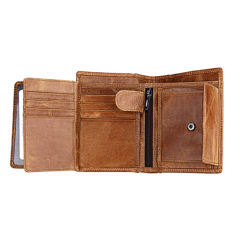 Men Leather Wallet Multifunctional Vertical Section Male Purses BROWN