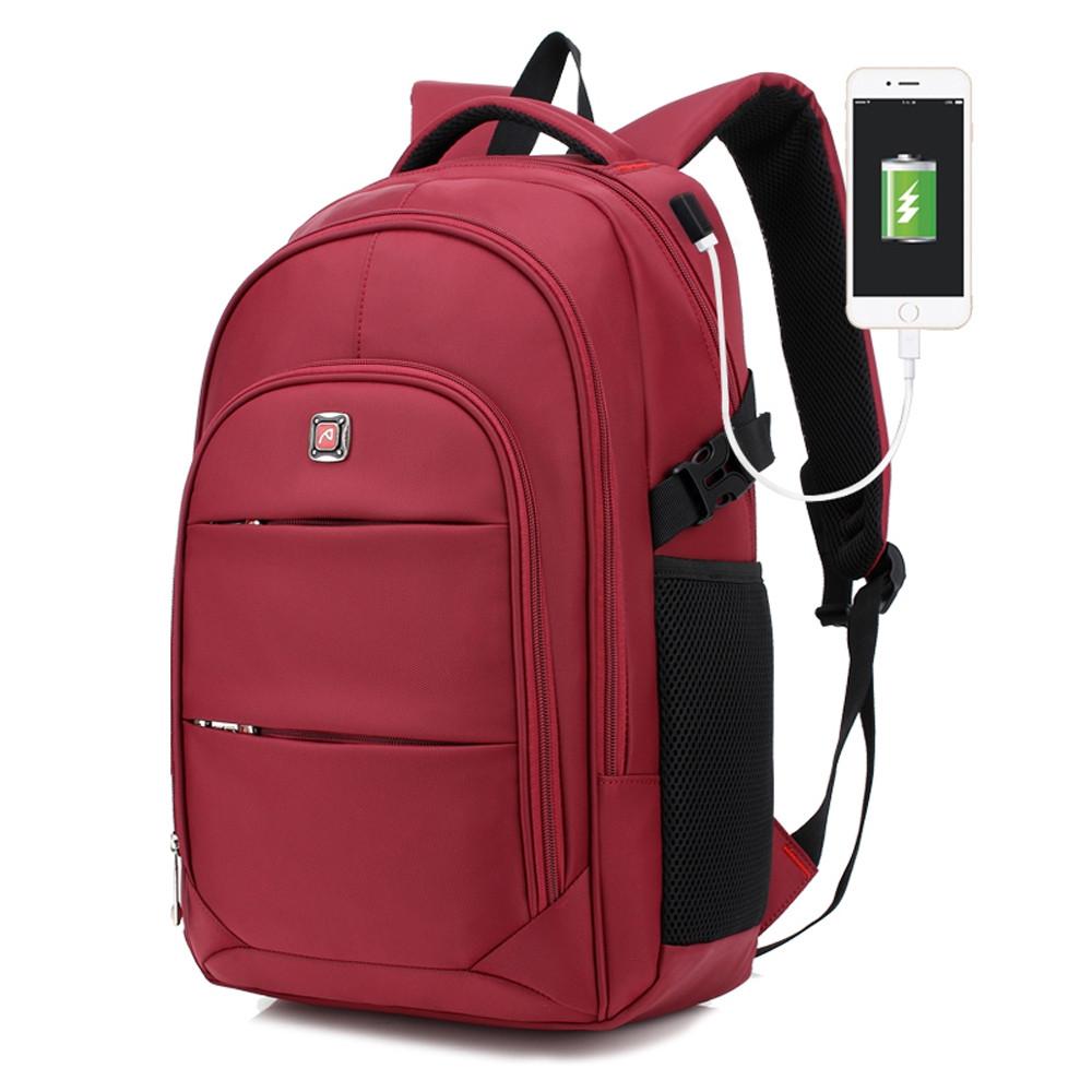 AUGUR Men Backpacks 17INCH Laptop USB Waterproof Travel Bag Women Student Back To School Bags For Teenagers RED WINE
