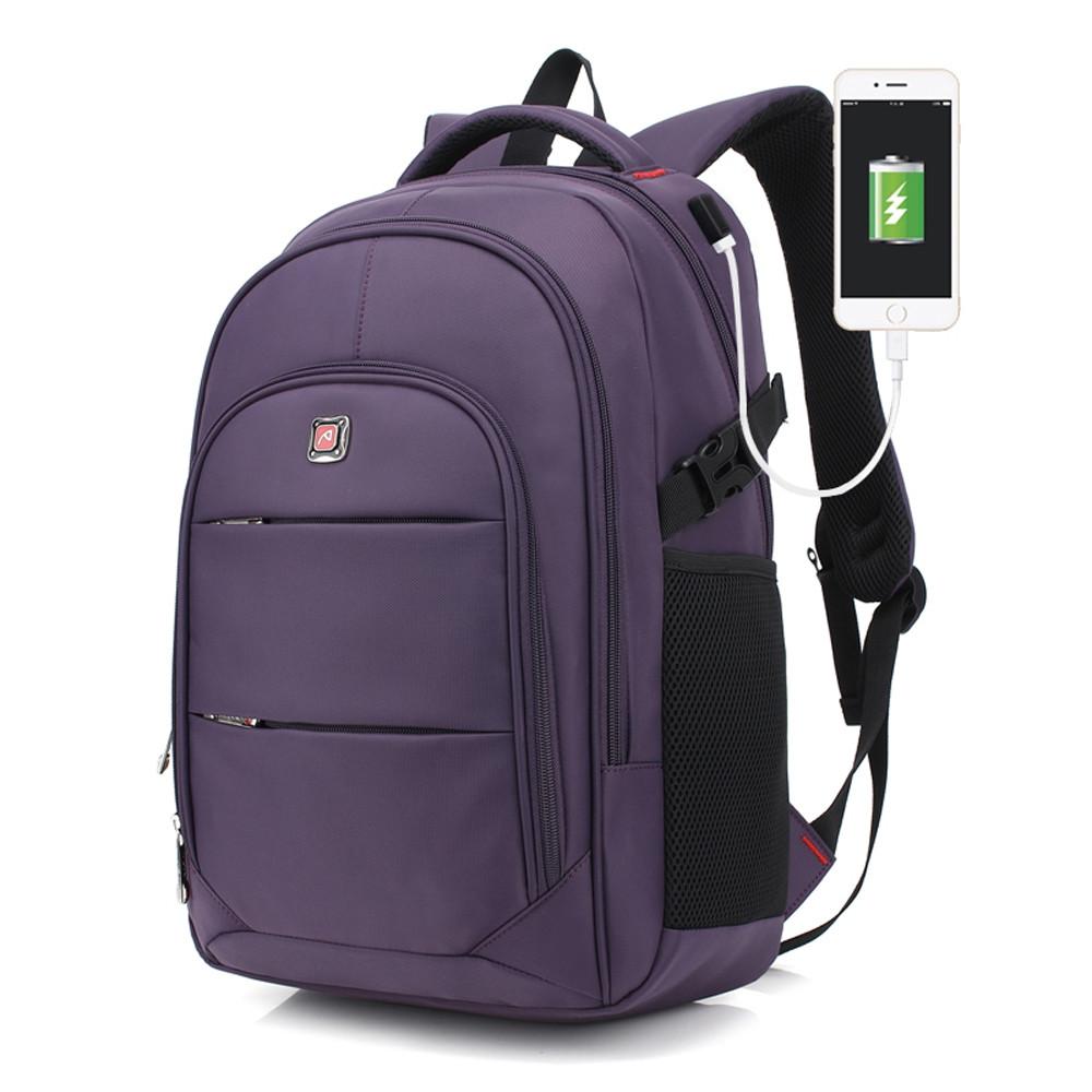 AUGUR Men Backpacks 17INCH Laptop USB Waterproof Travel Bag Women Student Back To School Bags For Teenagers PLUM PURPLE