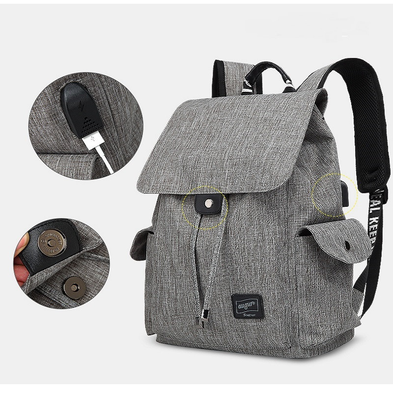 AUGUR Brand Backpack Multifunction USB Charging Men Women Casual Travel Teenager Student School Bag GRAY