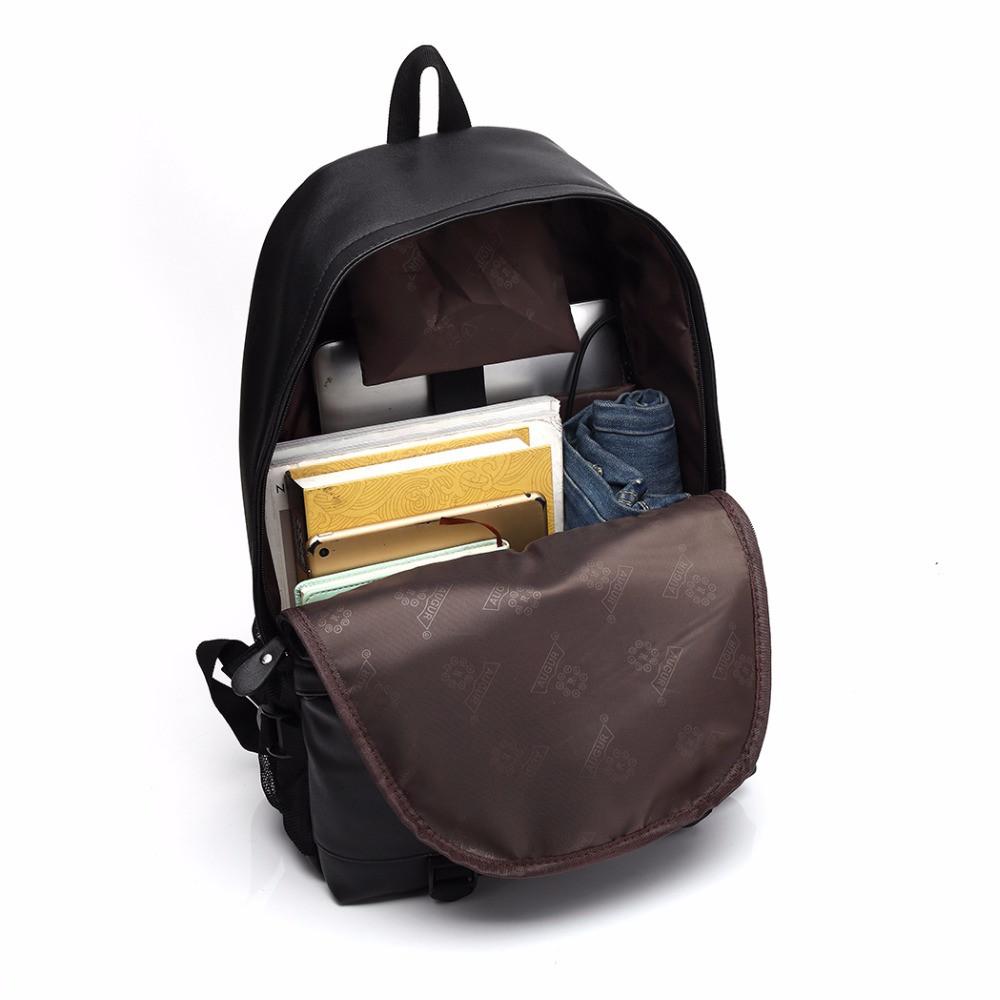 AUGUR Men Backpacks PU Leather USB Charging Travel Waterproof  Laptop Teenager Student School Bag BLACK