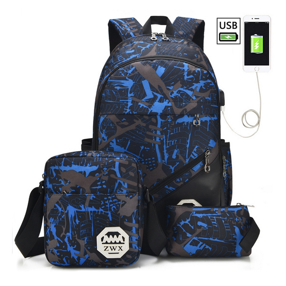 Men's Backpack Set 3Pcs Canvas Brief Large Capacity Preppy Backpack BLUE JAY 30X15X46
