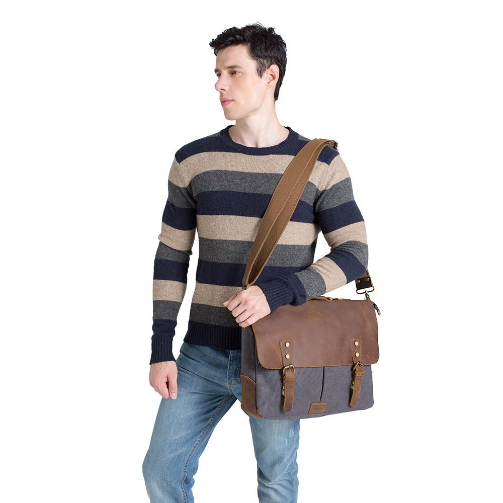 WalkingToSky Vintage Canvas Messenger Shoulder Bag for Men GRAY