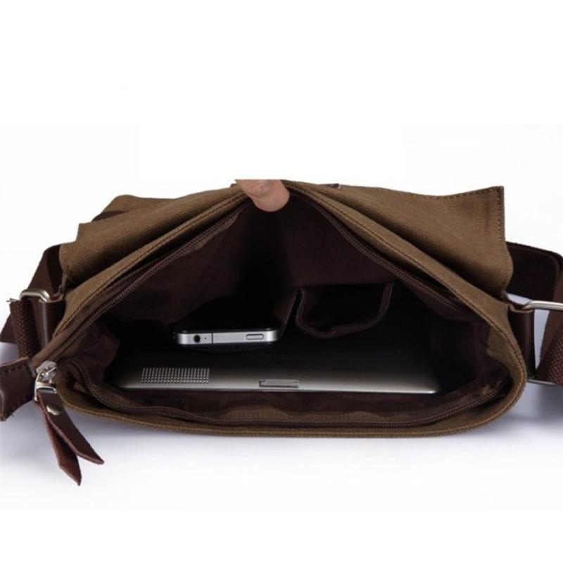 Canvas Single Shoulder Slanted Man Bag DEEP BROWN