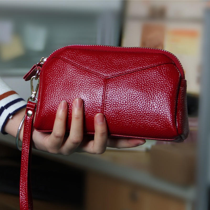 Fashion Genuine Leather Women Wallets Phone Card Holder Lady Long Clutch Purse WINE RED