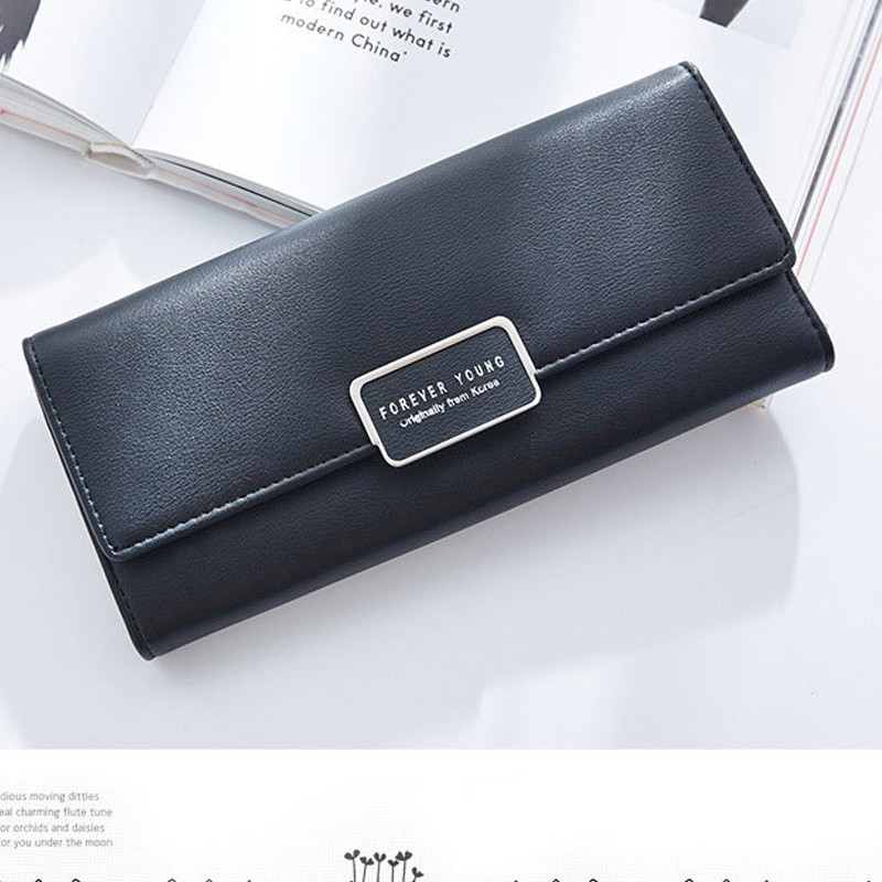 Fashion Women Wallet Clutch Purse Female Long Leather Ladies Holder Money Bag BLACK