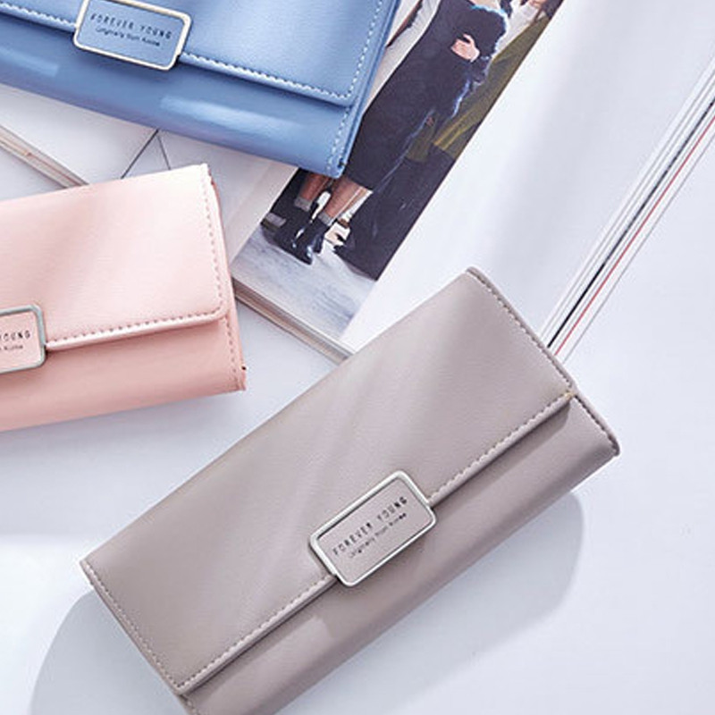 Fashion Women Wallet Clutch Purse Female Long Leather Ladies Holder Money Bag GRAY