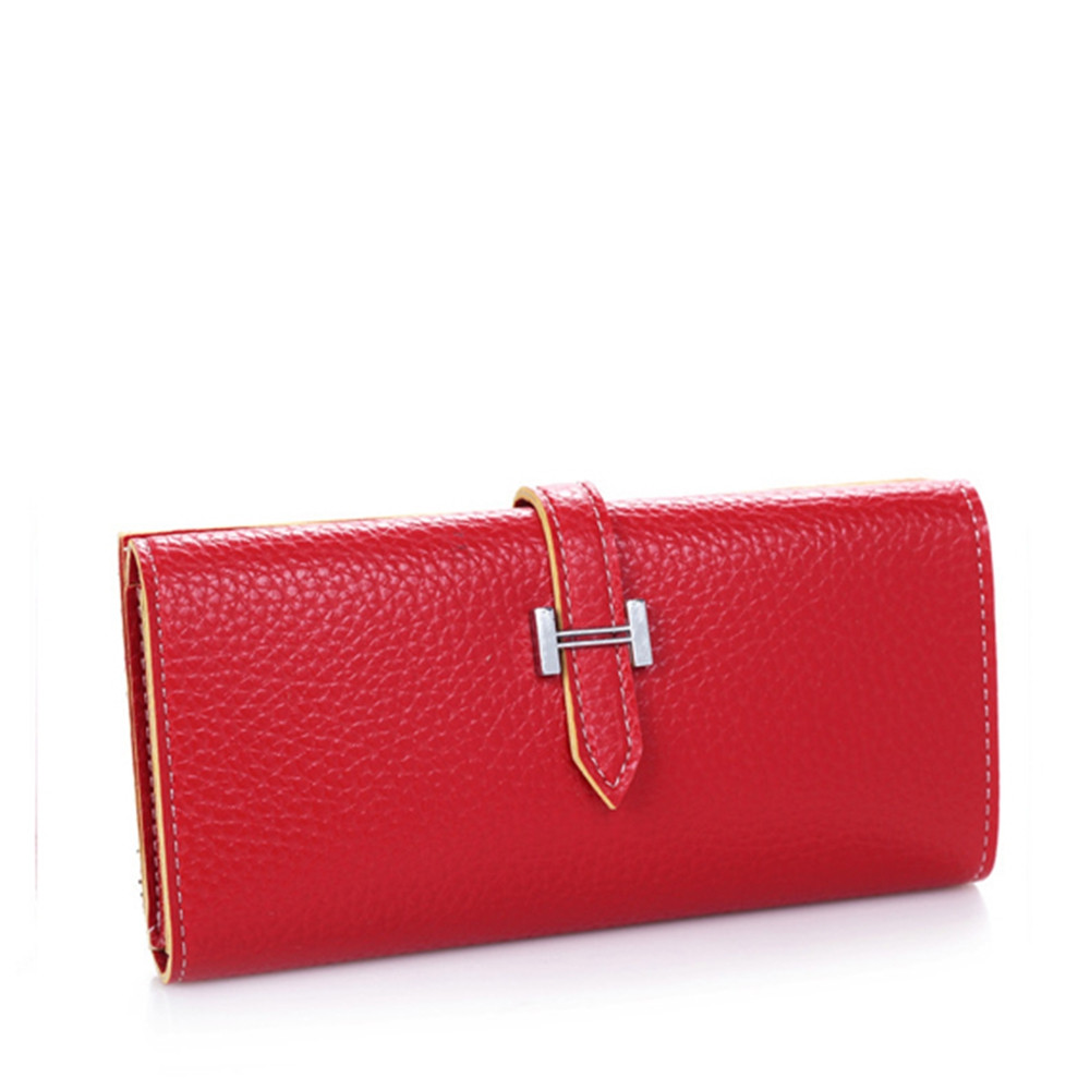 Lichee Print 2 Fold Long Style Female Purse RED