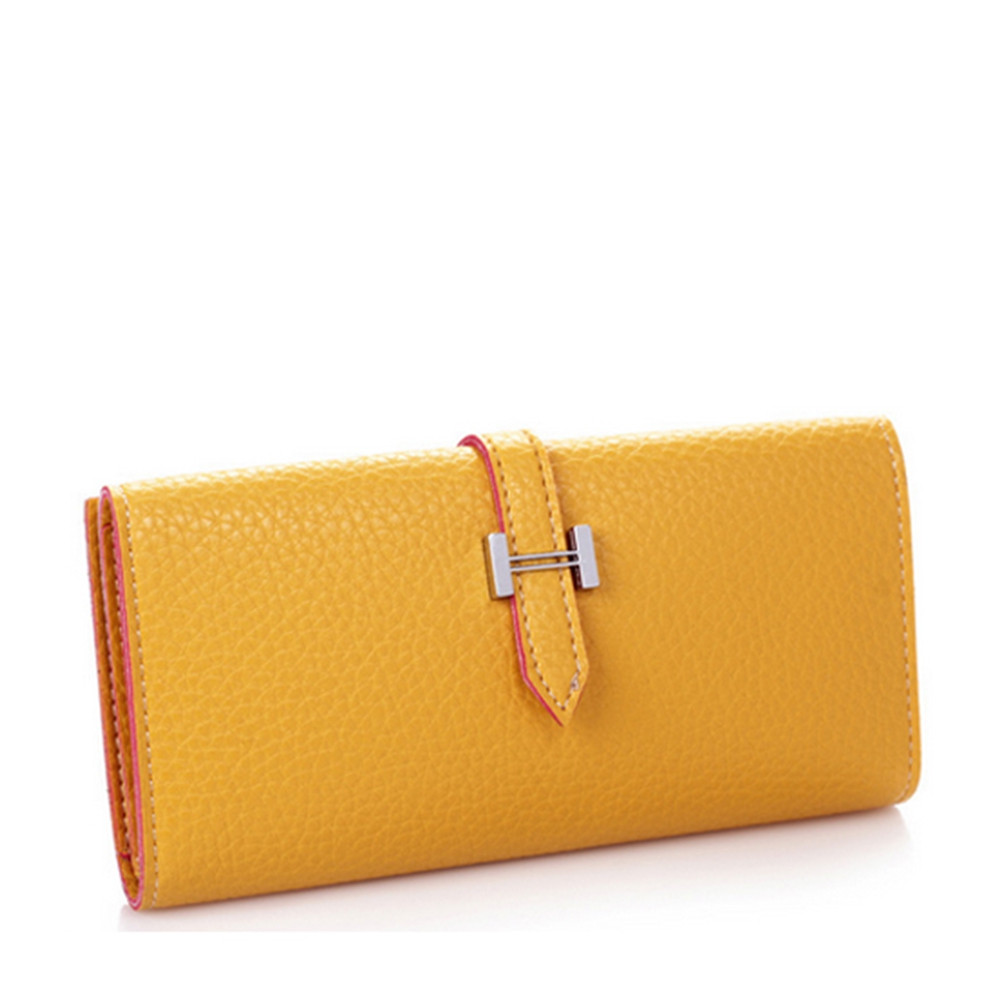 Lichee Print 2 Fold Long Style Female Purse YELLOW