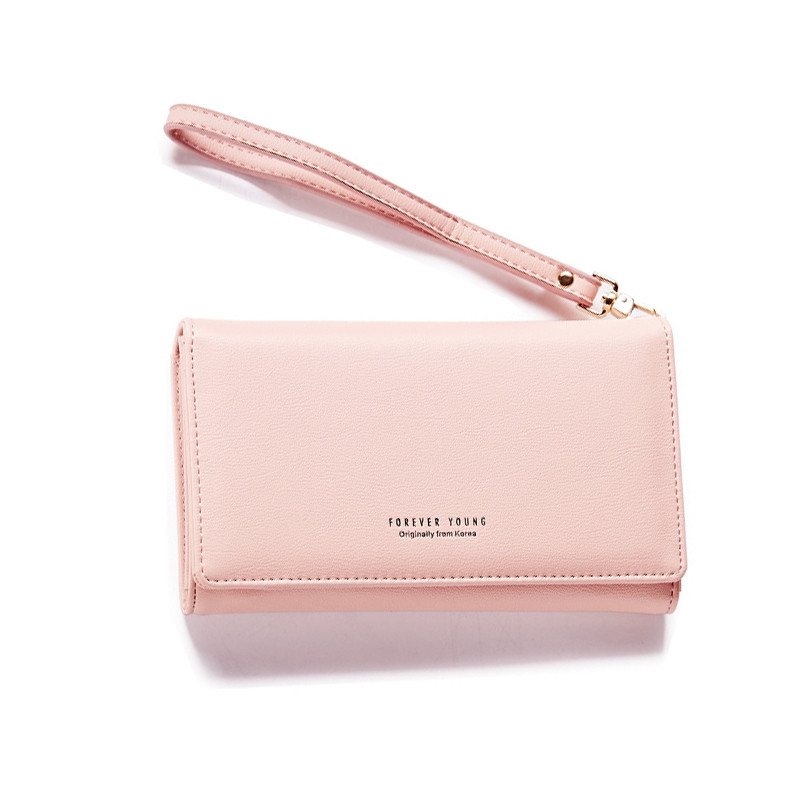 Fashion Women Long Clutch Wallet Ladies Pu Zip Female Card Holder Coin Purse PINK