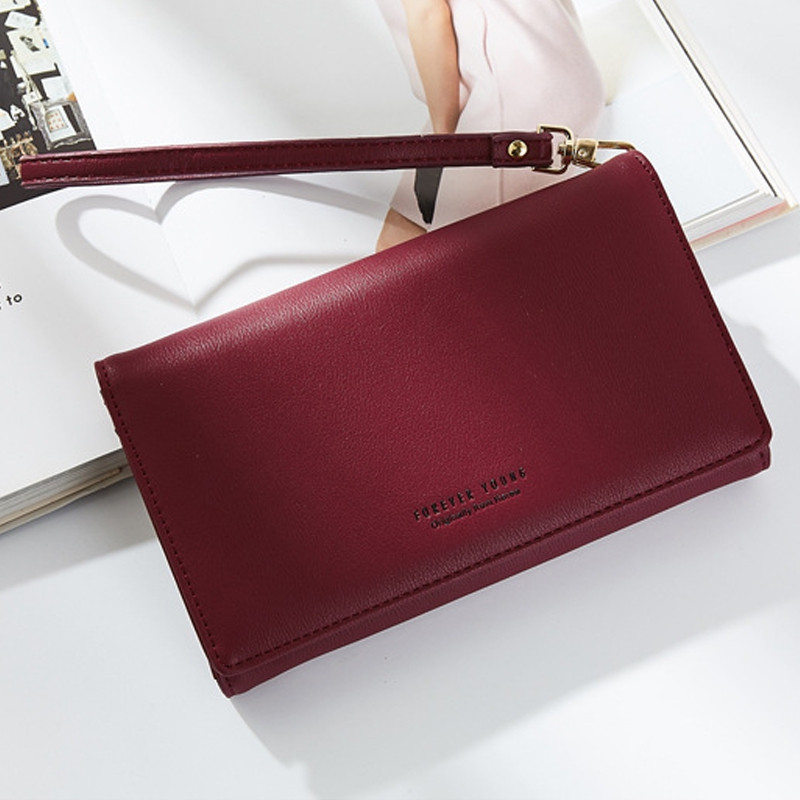 Fashion Women Long Clutch Wallet Ladies Pu Zip Female Card Holder Coin Purse WINE RED