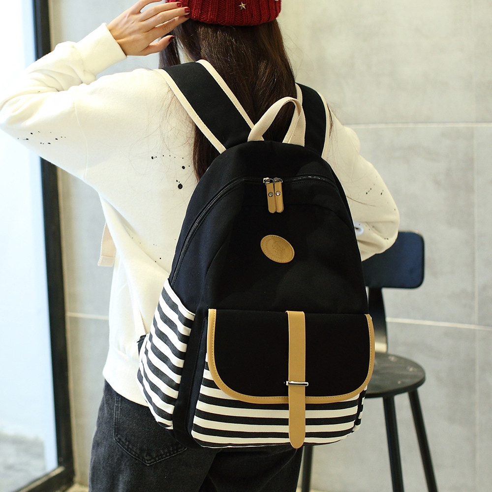 Korean Style Fashion Canvas Backpack Casual Travel Bag BLACK