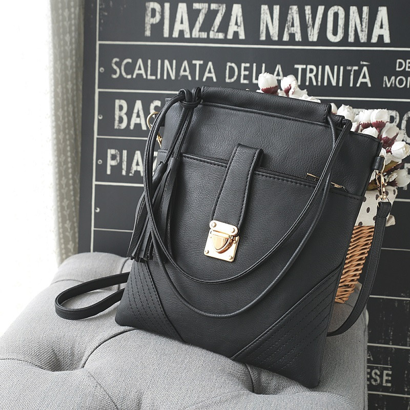 Women Bags Pu Leather Women's Crossbody Bag Ladies Shoulder Bag Handbags BLACK