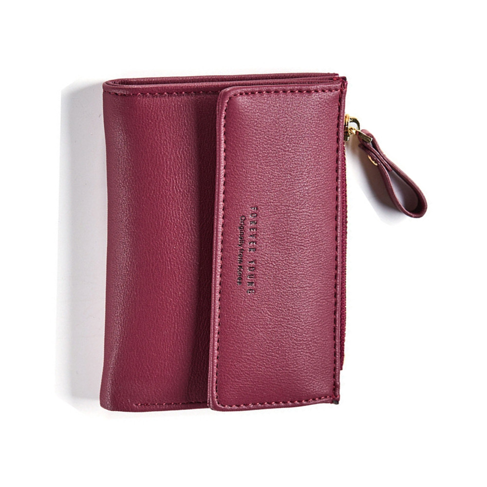 Zipper Short Standard Wallet Fashion PU Leather Solid Coin Card Purse Women Lady Clutch WINE RED