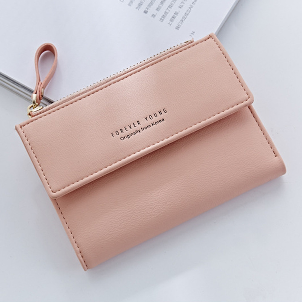 Zipper Short Standard Wallet Fashion PU Leather Solid Coin Card Purse Women Lady Clutch PINK