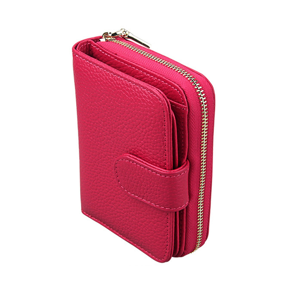 Fashion Women Genuine Leather Wallets Mini Cowhide Bag Card Holder RED