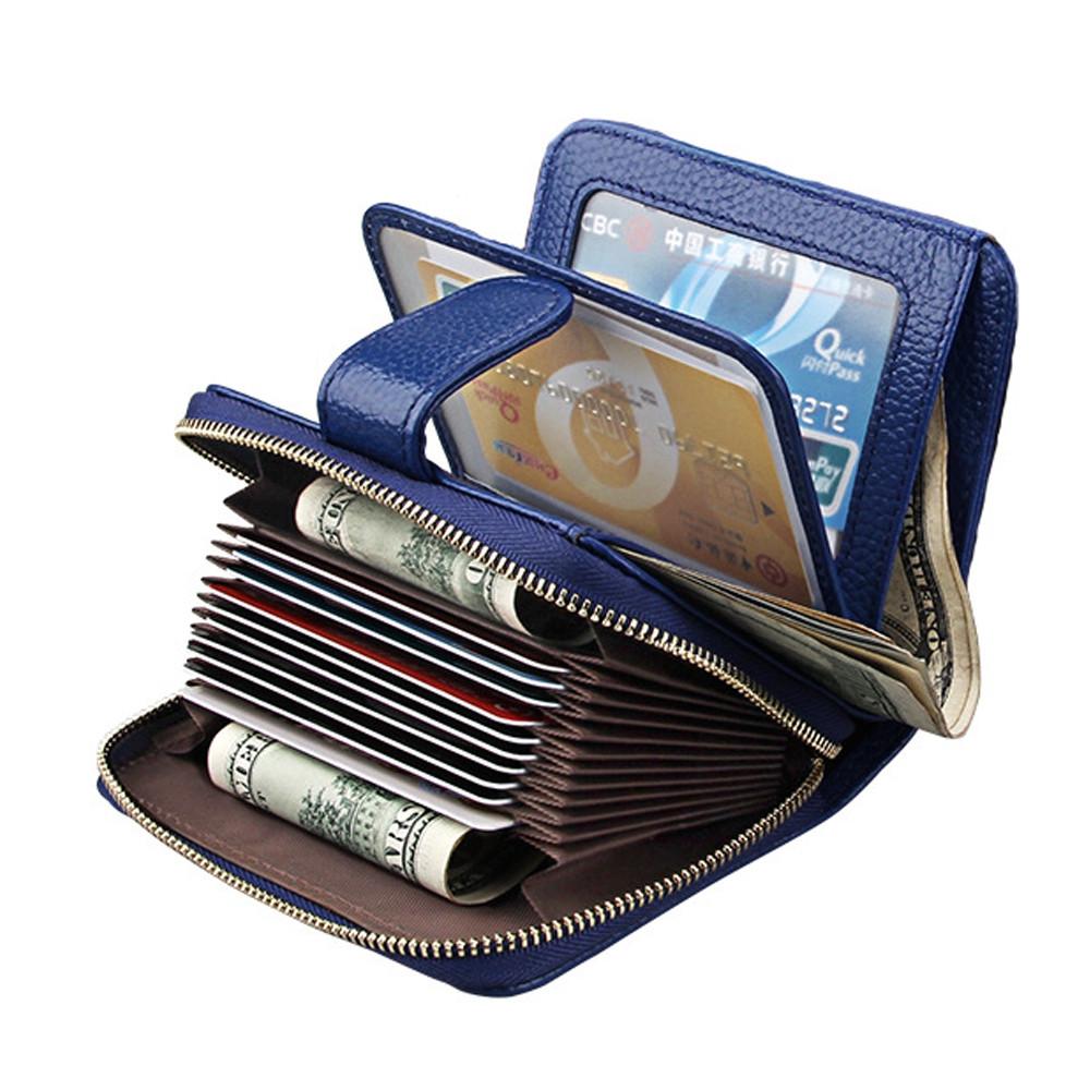 Fashion Women Genuine Leather Wallets Mini Cowhide Bag Card Holder BLUE