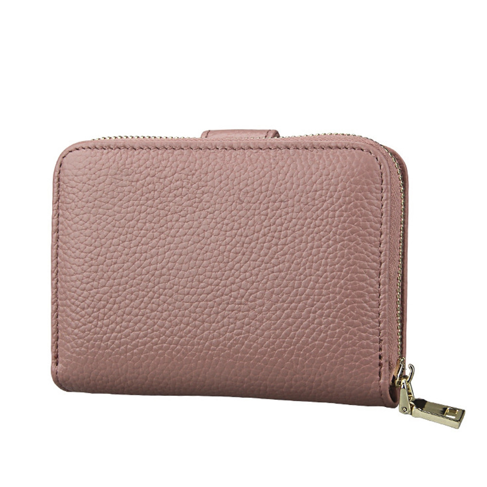 Fashion Women Genuine Leather Wallets Mini Cowhide Bag Card Holder GRAY PINK