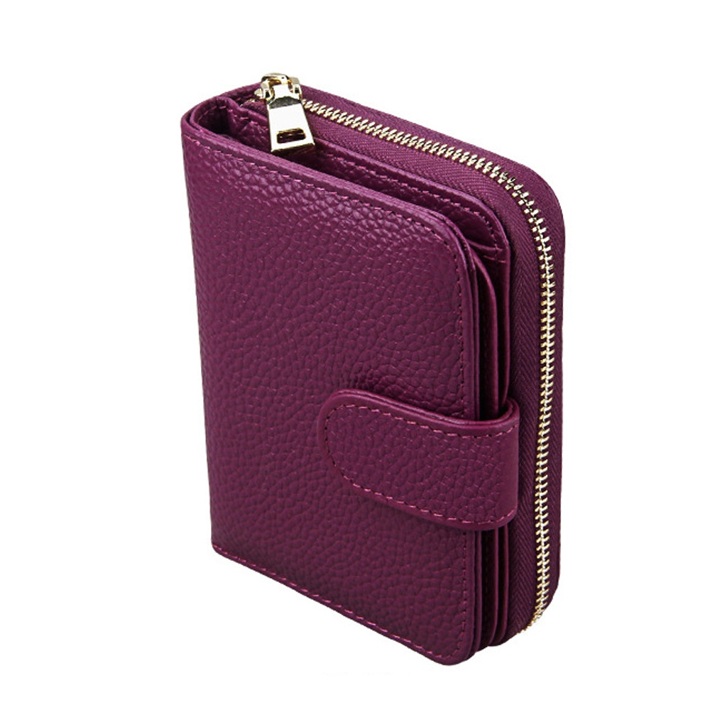 Fashion Women Genuine Leather Wallets Mini Cowhide Bag Card Holder PURPLE