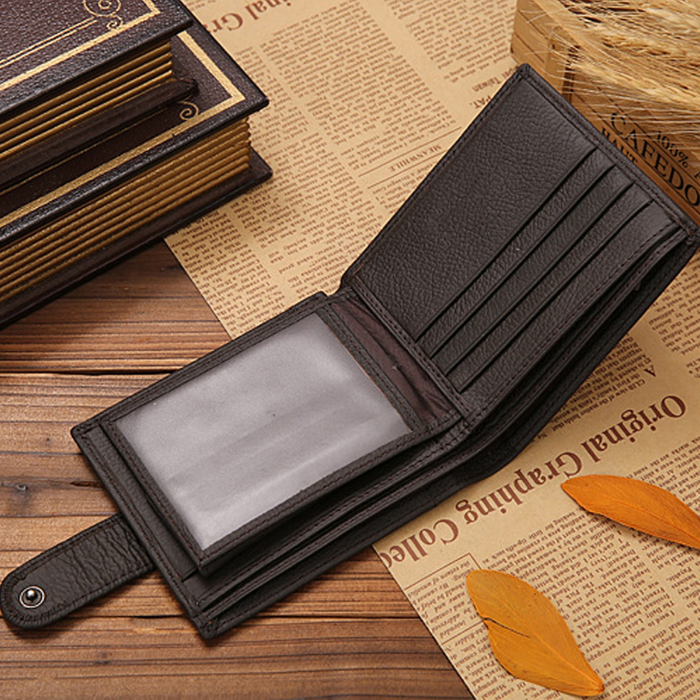 Men Wallets Male Genuine Leather Wallet Coin Pocket Card Holder COFFEE