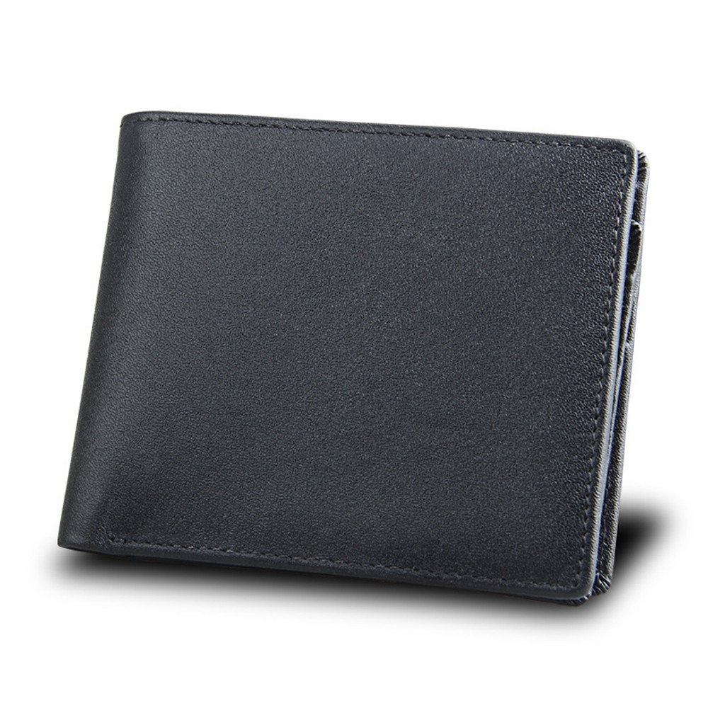Men Short Genuine Leather Cowhide Wallet Fashion Card Holder Coin Money Male Purse 8008 BLACK