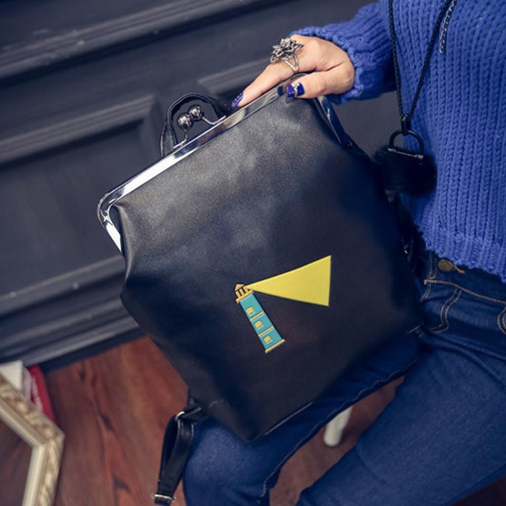 Women's Backpack Preppy Fresh Style Novel Cartoon Pattern Lovely Back Bag BLACK
